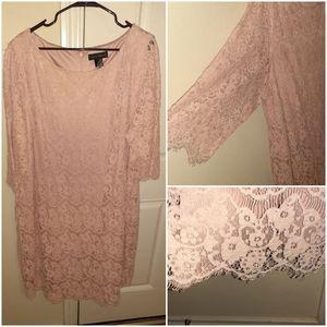 Beautiful Pink Lace Dress Plus Size